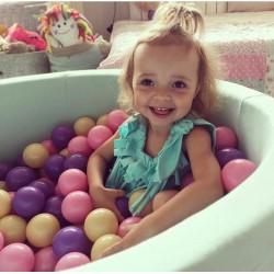 Suchy basen dla dzieci z piłeczkami 90x40 okrągły - miętowy