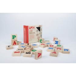 Klocki drewniane dla dzieci literki 27szt. (54 literki) BRIK