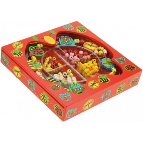 Pudełko z biżuterią, koraliki do nawlekania - Przyjaciele z łąki