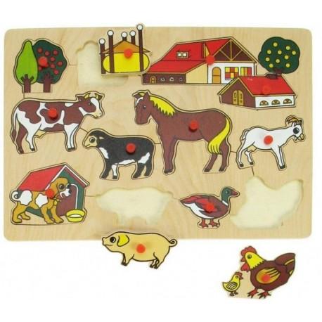 Puzzle drewniane układanka z uchwytami Farma