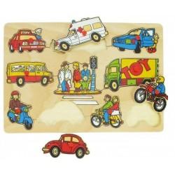 Puzzle drewniane z uchwytami układanka Pojazdy
