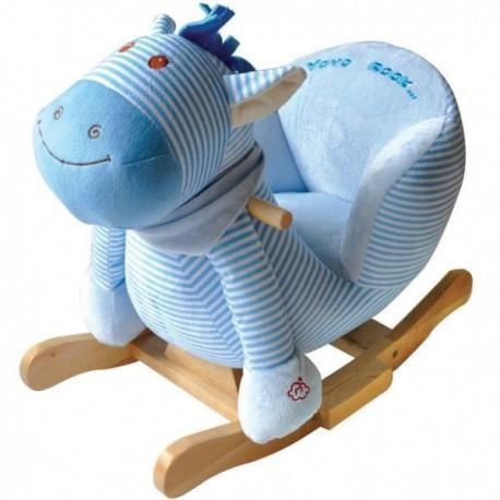 Konik na biegunach bujak z fotelem niebieski