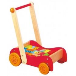 Drewniany wózek i pchacz z klockami