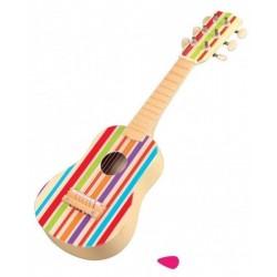 Tęczowa drewniana gitara 6-strunowa