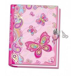 Ręcznie robiony pamiętnik z motylami zamykany na kłódkę
