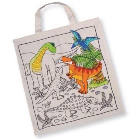 Torba bawełniana do samodzielnego malowania Dinozaury