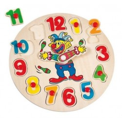 Zegar drewniany do nauki godzin Klaun kolorowy