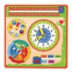 Zegar do nauki godzin i drewniany kalendarz