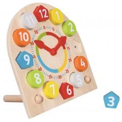 Drewniany zegar z wyjmowanymi klockami do nauki godzin