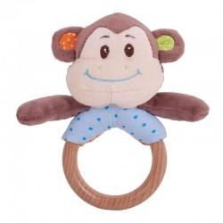 Drewniany pierścień z grzechotką Małpka Cheeky
