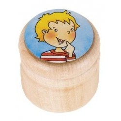 Pudełko na mleczaki drewniany pojemnik na wypadające ząbki CHŁOPIEC