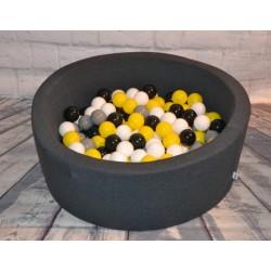 Suchy basen dla dzieci z piłeczkami 90x40 okrągły - grafitowy