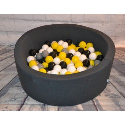 Suchy basen z piłeczkami 90x40 okrągły - grafitowy