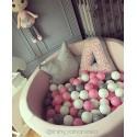 Suchy basen dla dzieci z piłeczkami 90x30 okrągły - pudrowy róż