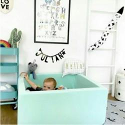 Suchy basen dla dzieci z piłeczkami 90x90x40 kwadratowy - miętowy 300 piłeczek