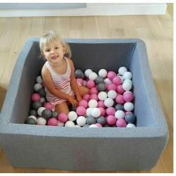 Suchy basen z piłeczkami 90x90x40 kwadratowy - szary 200 piłeczek