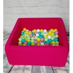 Suchy basen z piłeczkami 90x90x40 kwadratowy - róż 300 piłeczek