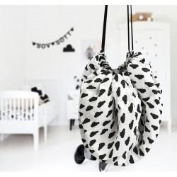 Mata do zabawy/worek na zabawki 2w1 biało-czarny 150 cm