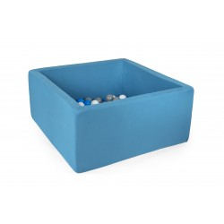 Suchy basen z piłeczkami 90x90x40 kwadratowy - turkusowy