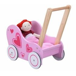 Drewniany wózek dla lalek w serduszka+kołderka i poduszka