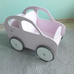 Drewniany wózek dla lalek - pchacz