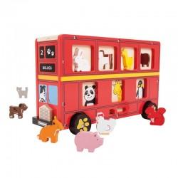 Autobus londyński z sorterem i zwierzętami
