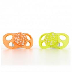 Twistshake - Smoczki uspokajające Mini 0m+, pomarańczowy/żółty, 2 szt.