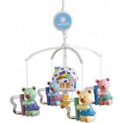 Karuzela do łóżeczka z lampką i plastikowymi zabawkami