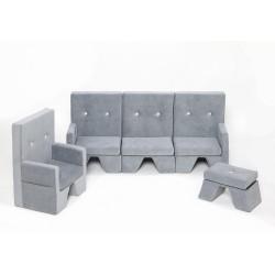Zestaw sofa+fotel+podnóżek dla dziecka Premium MISIOO  - jasnyszary