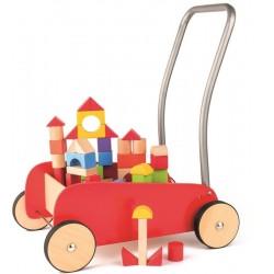 Wózek Pchacz czerwony z klockami